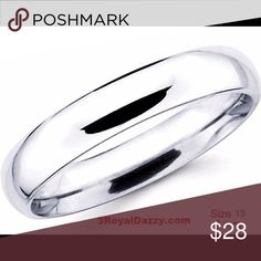 925 silver  plain wedding band ring 6mm Size 13 Metal :Anti-Tarnish Solid sterling silver .925 Stone Type :N/A Ring Size :13 Approximate Width :6 mm Approximate thickness :1.5 mm Approximate Weight:4.8 grams Total amount of stone set on ring :N/A Item # :S08201509 3 Royal Dazzy Accessories Jewelry