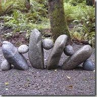 Gardens:  Create a rock sculpture in your garden.