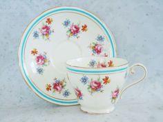 Aynsley Tea Cup and Saucer Set - Vintage Teacup and Saucer - Turquoise and Pink Teacup and Saucer Set
