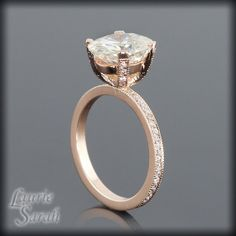 Oval Moissanite and Diamond Solitaire Engagement Ring in 14kt Rose Gold - Diamond Alternative - LS1900