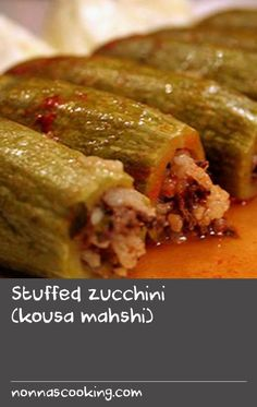 Stuffed zucchini (kousa mahshi) | The best zucchini to use for this recipe is the small, slightly bulbous, pale green variety often sold as Lebanese zucchini. Hollow out the zucchini using a manakra, which is a tool like a long apple corer designed for this purpose; you can find them in Middle Eastern food stores. To adapt this kousa mahshi recipe for vegetarians, use chickpeas instead of minced beef.