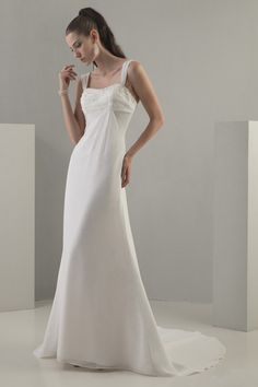 Simple Chiffon Wedding Dress of 2011 with Straps MBD7559 Grecian inspired chiffon gown with wide pleated straps and pleated bustline. Long f...