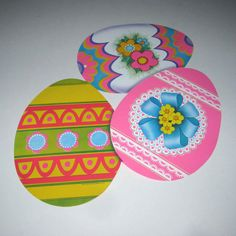 Vintage 1980s Die Cut Cardboard Easter Decoration with Colorful Easter Eggs by Beistle by grandmothersattic on Etsy https://www.etsy.com/listing/126133887/vintage-1980s-die-cut-cardboard-easter