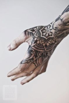 Mandala Tattoo Hand Blackwork