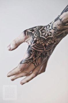 Mandala Tattoo Hand Blackwork