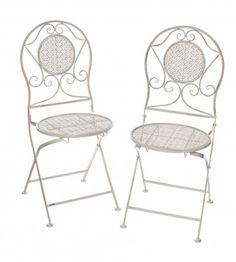 2er Set Klappstuhl Perugia, weiß-antik - Mit diesen Klappstühlen im Vintage-Look verschönern Sie Ihren Garten oder Balkon. Die Maße und das Gewicht beziehen sich auf einen Stuhl.Material: MetallMarke: