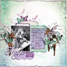"""Today, the very talented Kaisercraft Design Team have created some wonderful projects using Fairy Dust Specialty Papers Glimmer and Flutter. """"May all of your wishes come true"""" layout By Anita Bownds whispers Wedding Scrapbook, Baby Scrapbook, Scrapbook Pages, Scrapbook Sketches, Scrapbooking Layouts, Paper Art, Paper Crafts, South African Artists, Specialty Paper"""