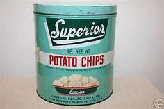 Vintage SUPERIOR Potato Chips 1 lb Advertising Tin Can ...