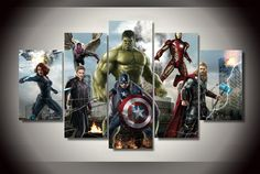 Avengers Marvel Comics Framed 5 Piece Canvas Five Panel Canvas Art Wall Art Home Decor For Her For H Framed Wall Art, Wall Art Decor, Wall Art Prints, Room Decor, Painted Ladies, Canvas Pictures, Art Pictures, Gustav Klimt, Canvas Artwork