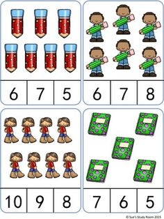 Back to School Count and Clip Cards by Sue's Study Room Kindergarten Math Worksheets, Preschool Learning Activities, Preschool Math, Basic Math, Math For Kids, Back To School, Clipboard, Learning Activities, Literacy Activities