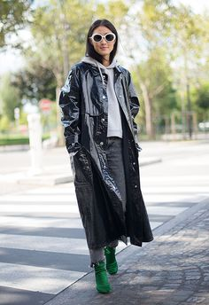 Consider a high-shine, patent rain coat the coolest practical buy you'll ever make. Position your hoodie over the top and add a pair of white oval-framed sunglasses and hey presto, you're the hottest street-style property ever