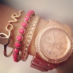 Rose gold watch and bracelets