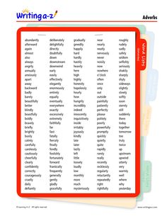 LIST: ADVERBS | Writing A-Z Adverbs, English Grammar, Writing, Reading, Word Reading, The Reader, Being A Writer, Reading Books, Letter