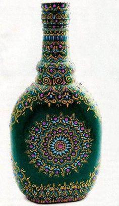 Роспись бутылки своими руками. Точечная роспись.