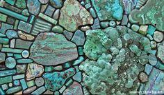 Work in Progress, 2010 by Sonia King, malachite, chrysocolla, smalti, glass, turquoise, amazonite, paua shell, and more