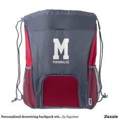 Personalized drawstring backpack with monogram