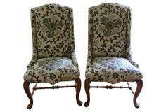 Accent Chairs in P. Kaufmann Linen, Pair
