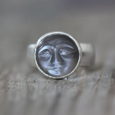 SIZE 8 Quarry Gray Moonstone Ring Smiley Carved by onegarnetgirl, $248.00