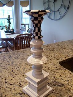 Pandora's Box: More black and white checks. Hand Painted Furniture, Funky Furniture, Repurposed Furniture, Painted Candlesticks, Candlestick Lamps, Mackenzie Childs Inspired, Mckenzie And Childs, Diy Candle Holders, Candle Stand