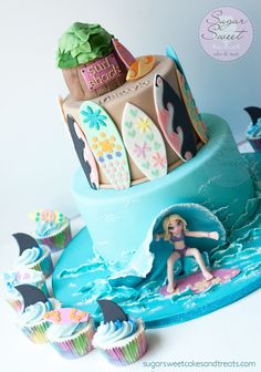 Surfer Girl Cake and Cupcakes  by Angela Tran (www.sugarsweetcakesandtreats.com)