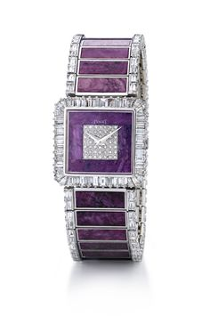 Diamond Watches Ideas : in white gold set with 152 baguette-cut diamonds and 26 rectangular ruby plates from Ruby Jewelry, High Jewelry, Jewelry Watches, Silver Jewellery, Silver Ring, Saphir Rose, Patek Philippe, Beautiful Watches, Schmuck Design
