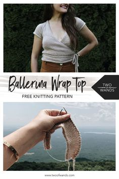 summer knitting Ballerina Wrap Top pattern by Two of Wands Sweater Knitting Patterns, Arm Knitting, Knitting Designs, Knit Patterns, Knit Wrap Pattern, Bag Patterns, Baguette, Color Splash, Bag Pattern Free