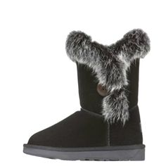 Fashiondiary Women's Autumn Rabbit Fur Snow Boots 3 Colors 6 Sizes Black 36 EU *** Be sure to check out this awesome product.