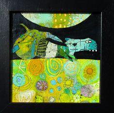 26 Elke Trittel acrylic,collage on board 20/20cm