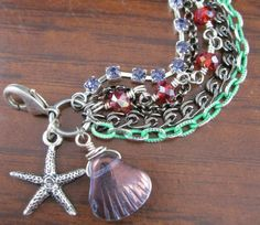 Little Mermaid Princess Ariel Inspired multichain rhinestones and crystals charm bracelet by alliefayedesigns on Etsy