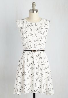 Twilight on the Terrace Dress in Parisienne. You feel right at home on the scenic patio at dusk in this woven A-line frock! #white #modcloth