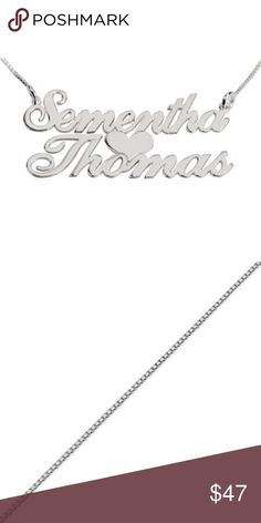 """Custom Sterling Silver Two Names w/ Heart Necklace Custom made w/ your names. Prices firm  Style : """"Allegro Font"""" Two Name Necklace Material : Sterling Silver 0.925 Thickness : 0.7mm / 0.03"""" Chain Style : Box Chain Chain Length : 14"""", 16"""", 18"""", 20"""", 22"""" Product Size: Width: 19mm x 51mm / 0.75"""" x 2.0"""" Height: 16mm x 22mm / 0.6"""" x 0.9""""  ..HOW - TO - ORDER .. 1) Please select your chain length from the options below.  2) Upon ordering message me with the names you would like including and…"""
