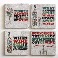 Wine Coasters (set of 4) | Wine Gift