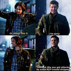 SPN poor Sammy (Sam vs Clowns), and Dean aka Jensen he was really laughing Supernatural Tv Show, Supernatural Quotes, Supernatural Fanfiction, Winchester Boys, Winchester Brothers, Jensen Ackles Jared Padalecki, Super Natural, Destiel, Baby Daddy
