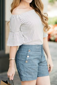 Banana Republic Striped Off-the-Shoulder Top / Chambray Shorts / Summer Style / Fashion / Outfit Ideas