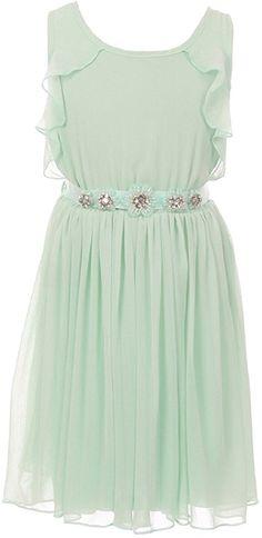 Little Girls Sleeveless Girls Dress Round Neck Ruffles Chiffon Summer Flower  Girl Dress Mint 6 ( 4a67df36d