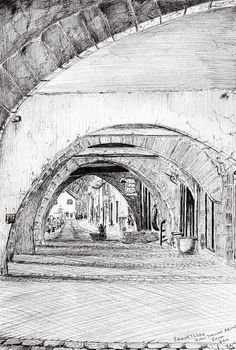 Arches Sauveterre France Drawing