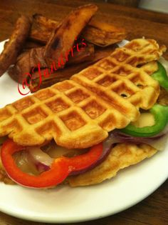 Yea, this just happened!!!  My lunch is Chipotle Chicken Breast in a Whole Grain Waffle filled with Green/Red Bell Peppers, Red Onion and Jalapeño Cheese and a side of Homemade Sweet Potato Wedges.  OMG, I wanted to slap myself!!!