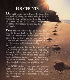 Author of footprints poem footprints in the sand american poet carolyn joyce carty footprints poem author christian poems about god american poet carolyn joyce carty's official website jesus footprints books poem poetry bestsellers christian books. Footprints In The Sand Poem, Footsteps In The Sand, Bible Verses Quotes, Faith Quotes, Camp Quotes, Fun Quotes, Religious Quotes, Spiritual Inspiration, Frases