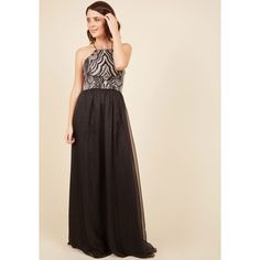 Luxe Sleeveless A-line Upscale Atmosphere Maxi Dress (€160) ❤ liked on Polyvore featuring dresses, gowns, apparel, black, chiffon evening gowns, sparkly evening gowns, evening cocktail dresses, open back evening gowns and evening dresses