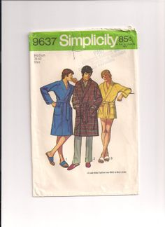 1970s Simplicity 9637 FACTORY FOLDED Mens Robe by Pinkalink, $7.50
