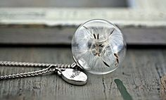 I love my new Dandelion necklace from Etsy!  Sterling silver necklace with real Dandelion seeds, immortalised in a glass orb.