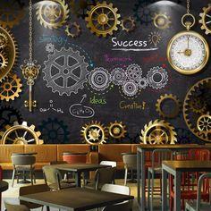 Wallpaper Suppliers, Wallpaper Stores, Restaurant Kitchen Design, Restaurant Interior Design, Coffee Bar Design, Graffiti Drawing, Graffiti Wallpaper, Tap Room, Environmental Graphics