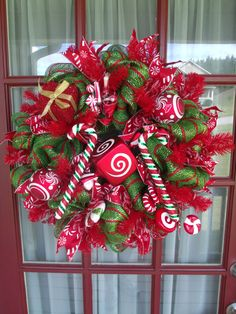 Christmas Green and Red Candy Cane Deco Mesh Wreath