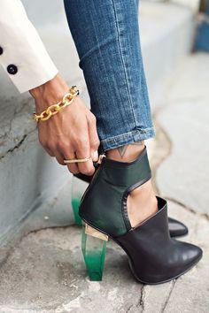 Miista bootie via Anthom http://www.grasiemercedes.com/style-me-wears/white-blazer-clear-heels/