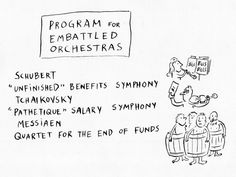 Program for Embattled #Orchestras. Cartoon by Pablo Helguera.