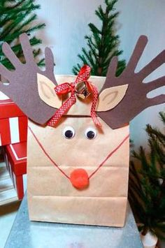 Make reindeer gift bags with your kids