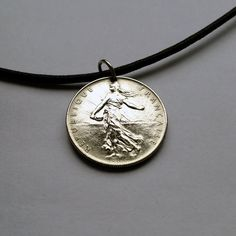 Choose Year France 1 franc coin pendant charm necklace jewelry French Republic the Sower seed lady national emblem olive branch No.000627 by acnyCOINJEWELRY on Etsy