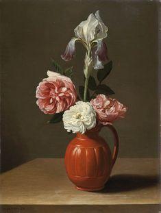 Jacob Foppens van Es, An iris and three roses in an earthenware pot // Jacob Foppens van Es, Flores en un búcaro