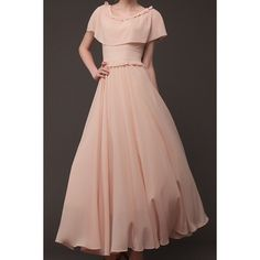 Stylish Scoop Neck Solid Color Capelet Embellished Women's Chiffon Dress