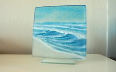 Blue Seaside Upstand The Small Wave fused glass by GlassRelief